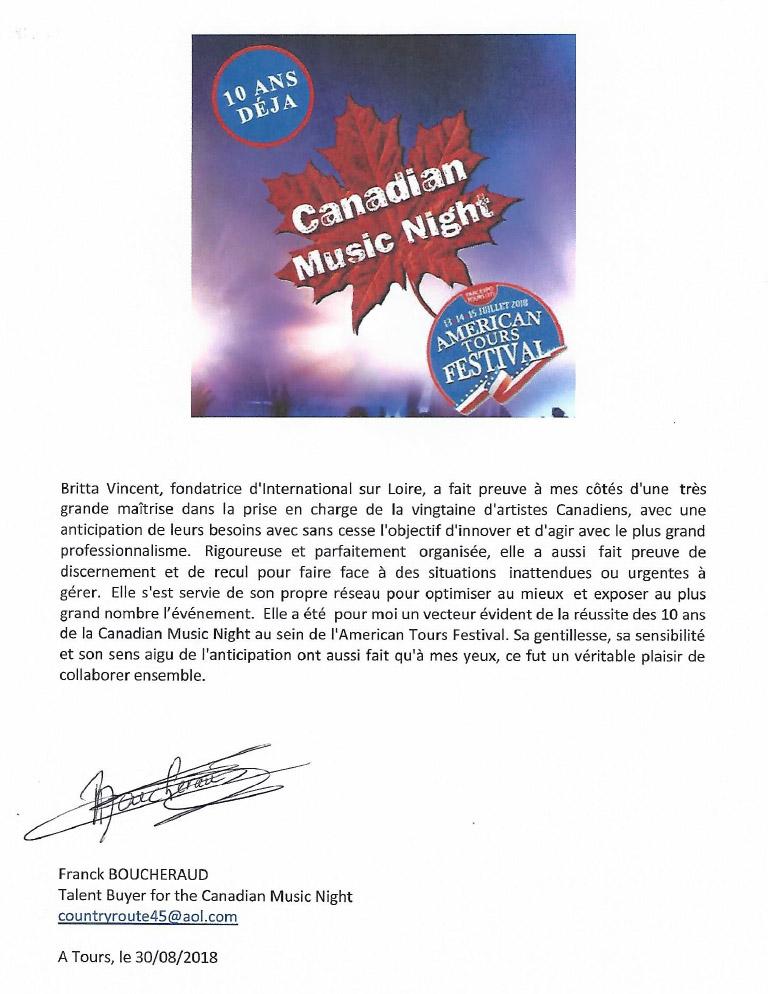 Lettre de recommandation Franck Boucheraud